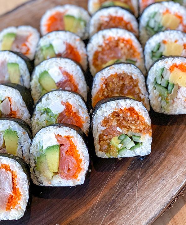 Keto sushi bento box lunch